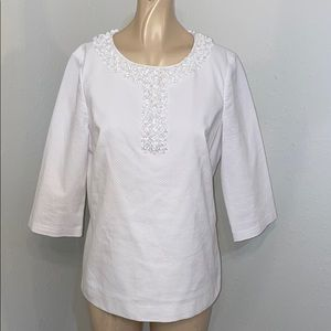 Boden white shirt embellished beading detail 8